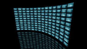 Distorted curved video wall turn to right. 3D rendering. 3d rendering of a distorted video wall. An unrolling curved image screen which shows many 3D monitors stock illustration