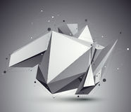Distorted 3D abstract object with lines and dots Stock Photography