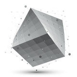 Distorted 3D abstract object with lines and dots  on whi. Te background, unusual spatial cube Royalty Free Stock Image