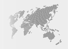 Distorted and dotted style world map on gray background.  Royalty Free Stock Images