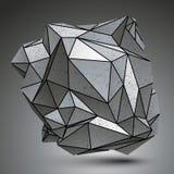 Distorted galvanizó el objeto 3d creado de figuras geométricas Imágenes de archivo libres de regalías