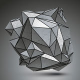 Distorted galvanized 3d object created from geometric figures. Complicated spatial design model Royalty Free Stock Images