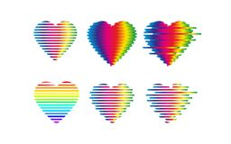 Distorted glitch rainbow hearts icon. Vector Royalty Free Stock Photo