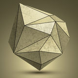 Distorted grunge copper 3d polygonal technology object, abstract. Spatial design model stock illustration