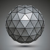 Distorted grunge copper 3d polygonal technology object, abstract. Spatial design model royalty free illustration
