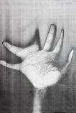 Distorted hand palm. Abstract workas background Stock Photography