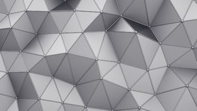 Distorted low poly grey shape with lines on edges 3D rendering. Distorted low poly grey construction with lines on edges. Modern abstract background. 3D stock illustration