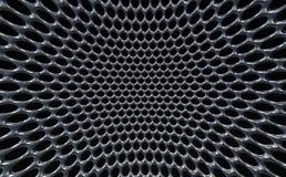 Distorted Macro Metallic grey grid round holes hive texture Royalty Free Stock Photo