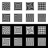 Distorted mesh, grid geometric element. Set of 8 shape in black. And white - Royalty free vector illustration Stock Photos