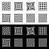 Distorted mesh, grid geometric element. Set of 8 shape in black. And white - Royalty free vector illustration Royalty Free Stock Photo
