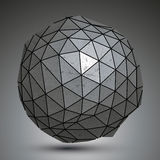 Distorted metallic dimensional abstract object. Spherical grayscale asymmetric tech element Stock Images