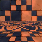 Distorted orange checkers Stock Image