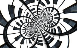 Distorted Piano keyboard music swirl abstract fractal spiral pattern background. Black and white piano round spiral. Spiral Piano. Pattern abstract background Royalty Free Stock Images