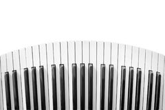 Distorted piano keyboard. Old piano keyboard distorted and isolated on white royalty free stock image