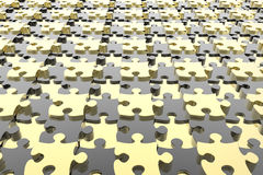 Distorted puzzle pieces background. Yellow and black distorted puzzle pieces background Stock Images