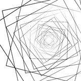 Distorted random radiating lines abstract monochrome pattern Stock Image