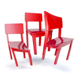 Distorted red chairs Stock Photos