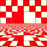 Distorted red checkers. Abstract distorted red and white checkered background Stock Image