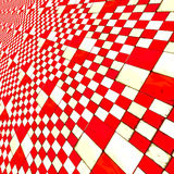 Distorted red checkers. Abstract distorted red and white checkered background Royalty Free Stock Photo