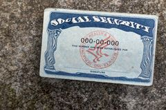 Distorted social security card royalty free stock photo