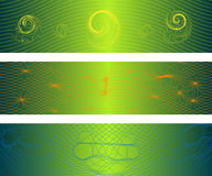 Distorted Waves Banners. Distorted Lines Creating Three Dimensional Field (all stroke widths are editable Royalty Free Stock Photos