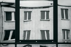 Distorted windows reflection Royalty Free Stock Images