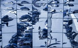 Distorting reflection. Windows of the big modern exhibition center Stock Images