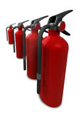 Distortion Extinguishers. Four 3D red Fire Extinguishers placed on a white reflective background Stock Photo