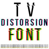 Distortion font. Tv distortion font, three version with color aberration. Vector Stock Image