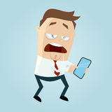 Distracted cartoon man is looking in his smart phone Royalty Free Stock Photos