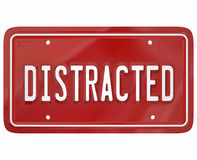 Distracted Driver Word Red License Plate Texting Driving Dangerous Royalty Free Stock Images