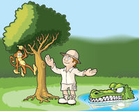 Distracted Explorer. Explorer admiring a monkey in a tree and unaware of the danger he is in Stock Images