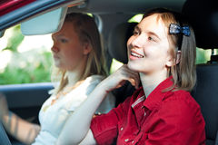 Distracted Teenage Driver Royalty Free Stock Photography