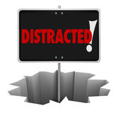 Distracted Warning Sign Danger Hole Pay Attention Stock Image