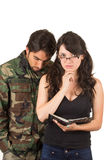 Distraught military soldier veteran ptsd. In therapy with psychologist isolated on white Stock Photography
