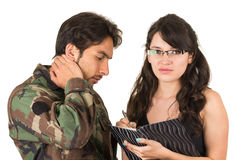 Distraught military soldier veteran ptsd. In therapy with psychologist isolated on white Stock Photo
