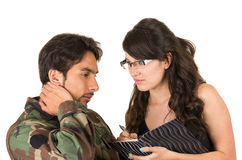 Distraught military soldier veteran ptsd. In therapy with psychologist isolated on white Stock Image