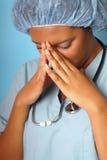 distraught sjuksköterska Royaltyfri Foto