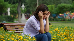 Distraught Stressed Teen Girl. Young pretty teen peruvian girl Royalty Free Stock Image
