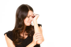 Distraught tearful young woman Stock Photos