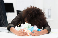 Distraught writer or businesswoman Royalty Free Stock Image