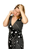 Distress while on cellphone stock images