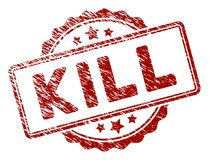 Distress Textured Kill Text Stamp Seal. Kill text rubber stamp seal. Vector element with distress style and unclean texture in red color. Designed for overlay Stock Photos