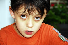 Distressed. Young boy with a very distressed look on his face Stock Photos