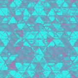 Distressed Abstract Triangle Print in Tonal Turquoise with accents of Purple. Perfect for commercial activewear, seamless pattern Stock Images
