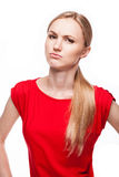 Distressed beautiful girl. Blond girl with emotion on her face- sorrow Stock Photography