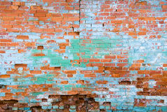 Distressed Brick Wall. Aging distressed brick wall with patches of paint Royalty Free Stock Photography