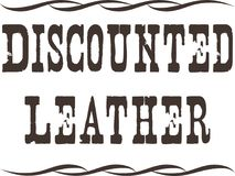 Distressed discounted leather brown vector .ai .eps file format sale website road sign printable illustration. Need to display your discounted leather products stock illustration