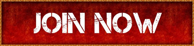 Distressed font text JOIN NOW on red grunge board background. Illustration Stock Photos