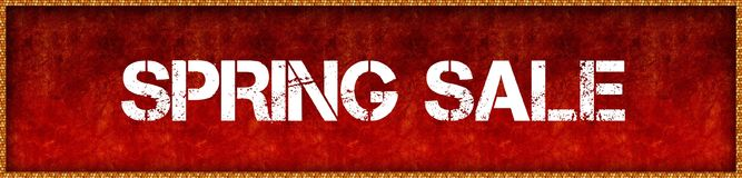 Distressed font text SPRING SALE on red grunge board background. Illustration Stock Photography
